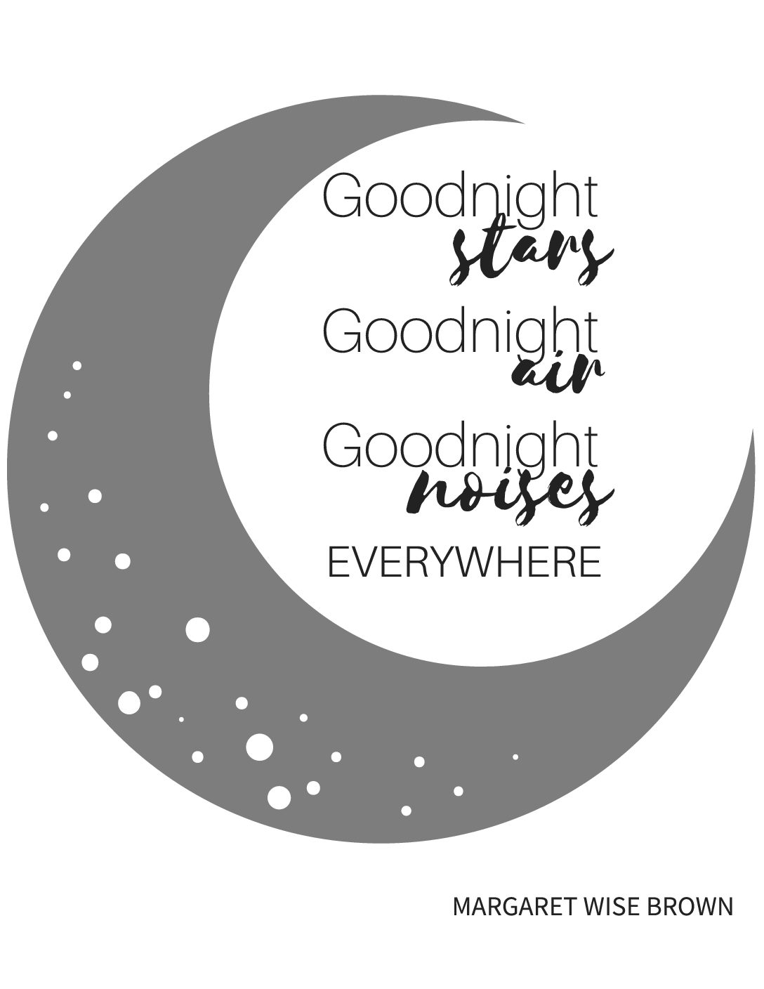 Goodnight Moon Free Printable Nursery Gray And Black