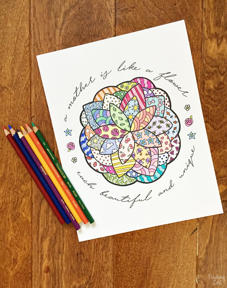Mother S Day Coloring Page With Flower Finding Zest
