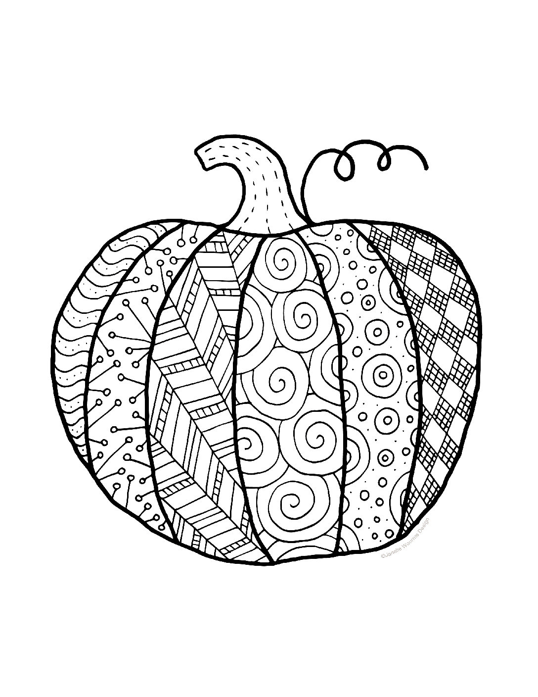 Pumpkin Coloring Page Free Printable For Personal Use Finding Zest