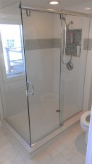 new shower with glass walls