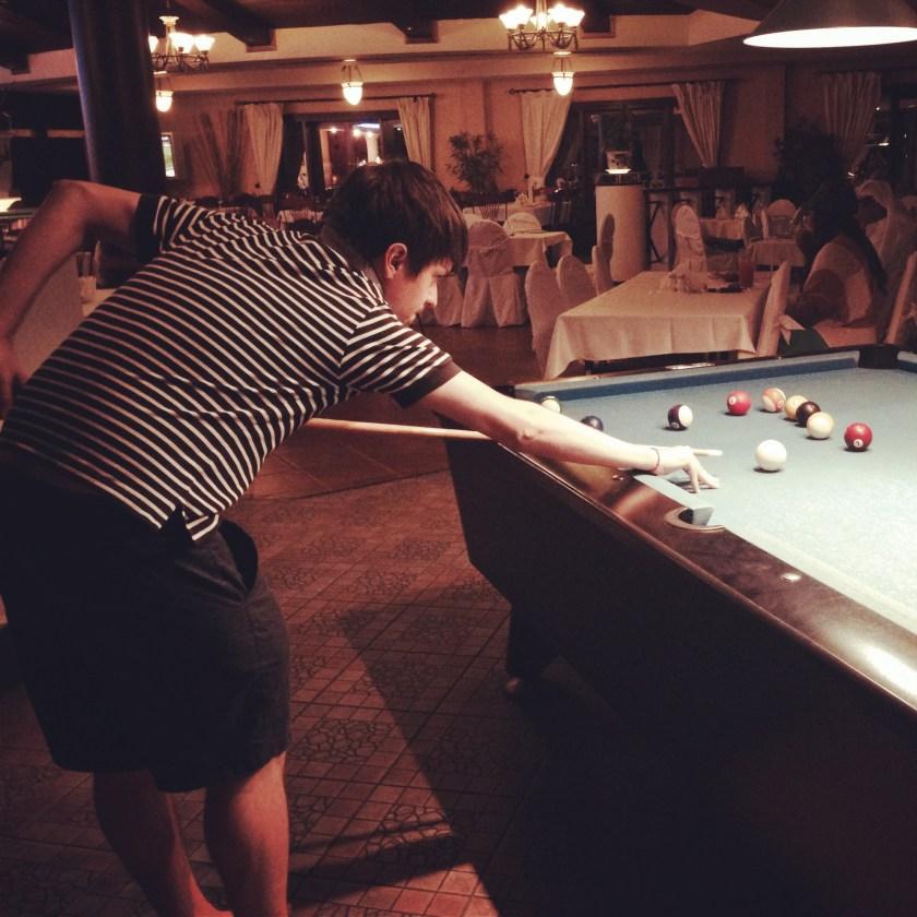 Play pool at Aquarius