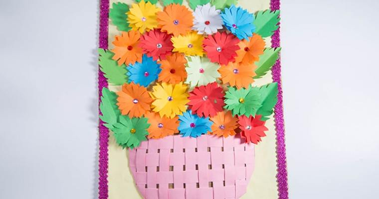 paper flower wall art room decoration