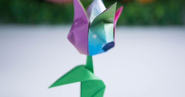 how to make an origami tulip leaf