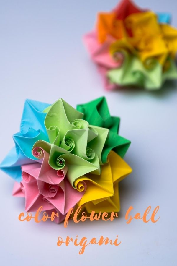 color flower ball origami