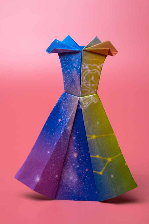 How do you make a origami paper dress?