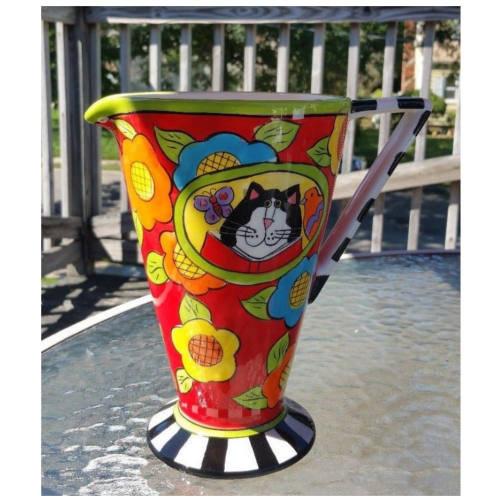 """CANDACE REITER 'CATZILLA' 9"""" Whimsical Cat CERAMIC PITCHER"""