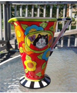 "CANDACE REITER 'CATZILLA' 9"" Whimsical Cat CERAMIC PITCHER"
