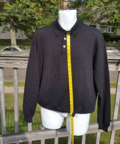 Brooks Brothers Men's Long Sleeve Polo Black Sweater 100% Merino Wool Size L measured