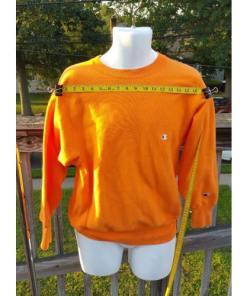 CHAMPION reverse weave sweatshirt Medium Bright Orange 80's 90's Made USA measured 2