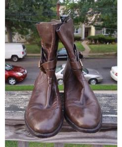 Coach Women's Brown Leather Jesika Mid Calf Ankle Double Strap Riding Boots 11 B