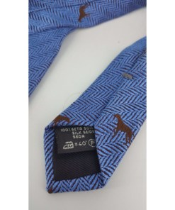 ERMENEGILDO ZEGNA Blue Dog Pattern Tie, 100 % silk