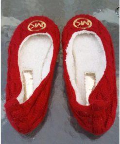 Michael Kors Womens Red Knit Slip On Ballet-Casual-Flats (ZARITA) back Sz 6