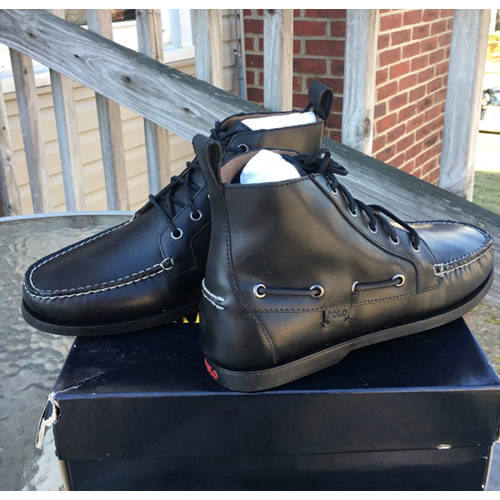 POLO RALPH LAUREN BARROTT BLACK SMOOTH PULL UP ANKLE BOOT
