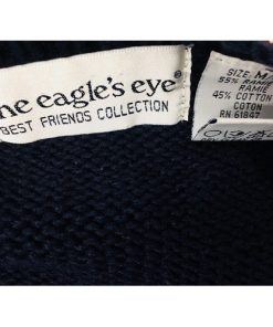 The Eagles Eye Cat Theme English Hand Knit Cardigan Sweater Medium Ugly Sweater label