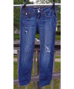 True Religion Julie Section Denim Jeans Pants Blue Size 26 Distressed