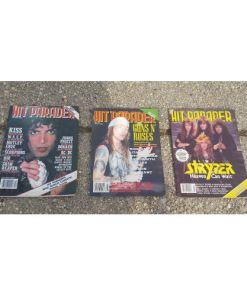 Vintage Hit Parader Magazine lot 3.1980's; 90. kiss, Rose's, Lee, Sryper..more