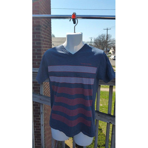 Volcom Blue multi-color Stripe V-neck Short Sleeve Modern Mens size Meduim