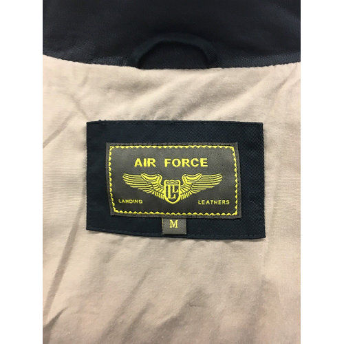 Air Force Landing Leathers Cockpit Mens Cotton A-2 Flight Jacket with Leather Collar tag