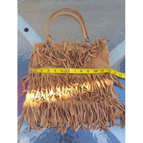 Borse and Pelle Star Fringes suede leather Shoulder handbag made in italy logo hori