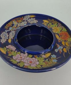 Japanese Kutani Blue Floral Porcelain Ashtray-Candy or Trinket Dish