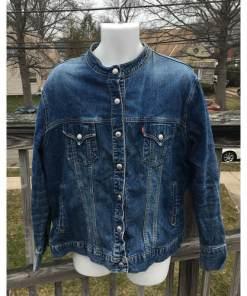 Levis Strauss Womens Collarless Blue Denim Jean Jacket Blazer Large