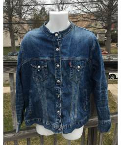 Levis Strauss Womens Collarless Blue Denim Jean Jacket Blazer Large