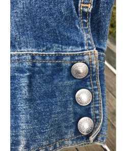 Levis Strauss Womens Collarless Blue Denim Jean Jacket Blazer wrist button 2 Large