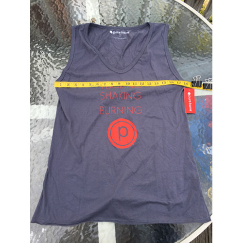 Pure Barre P logo tucking shaking burning Tank top Size L tag