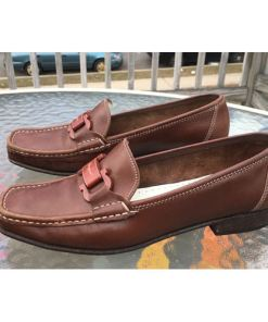 SALVATORE FERRAGAMO WOMEN LEATHER BROWN LOAFER SHOES sz 8.5 Italy side