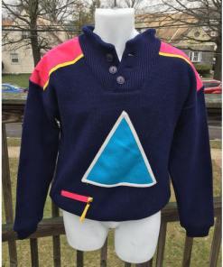 Vintage 90s SOS Black Retro Ski Sweater Size Medium Sportswear of Sweden Wool