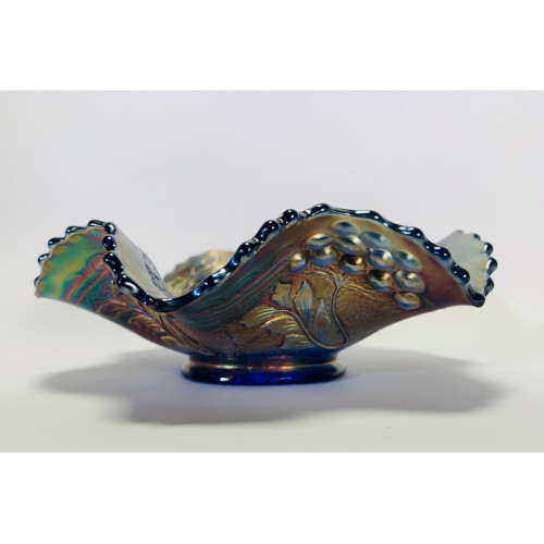 Cobalt Blue Carnival Glass Bowl Ruffled Edges - 7""