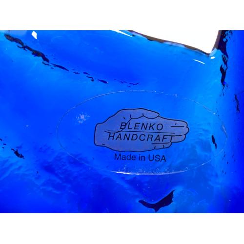 Blenko Handcraft Cobalt Blue Mid Century Candy Dish