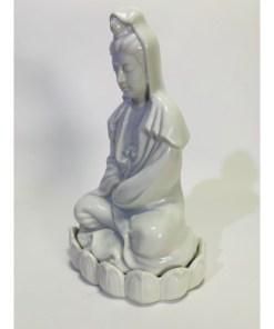 Kuan Yin Female Buddha white porcelain statue made in Japan