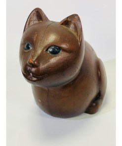 Mackinac Island Michigan Souvenir Wooden Cat - Handcarved