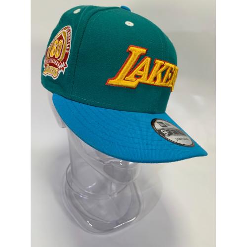 New Era 9FIFTY snapback hat Los Angeles Lakers green crimson