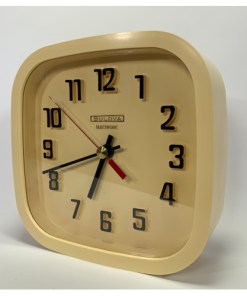 "Bulova Electronic 8"" Wall Clock Battery Operated Made in Canada - Beige"