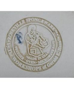 Roseville Blue Spongeware, Oval Bowl - USA Gerald Henn