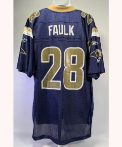 St Louis Rams Marshall Faulk #28 Blue & Gold Sewn Reebok Jersey - Men's