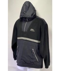 Vintage Quiksilver fleece Pullover Jacket reflective strip