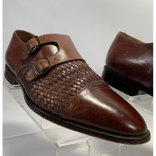 Carlo Morandi Double Strap Braided Leather Loafers
