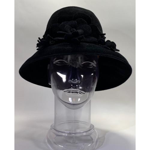Carlos New York Women Floral Wool Cloche Felt Hat