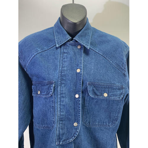 Vintage Ralph Lauren Women Denim Double Breasted Shirt