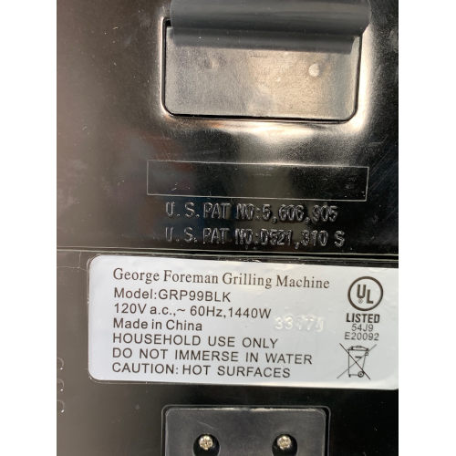George Foreman Grill 6-Serving Removable Plate GRP99BLK