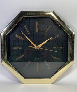 "WESTCLOX 11"" Octagon Gold Wall Clock"