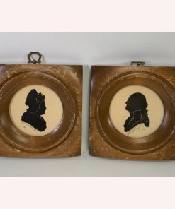 Vintage Aaron Bros Silhouette Of George & Martha Washington Wooden Wall Decor