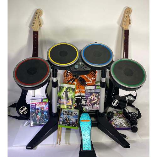 Xbox 360 Rock Band Drum Set Bundle with Wired Pedal
