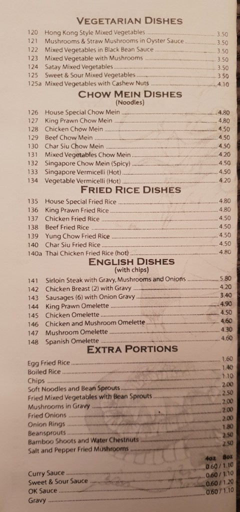 Vegetarian, chow mein, fried rice, english dishes and extra portions.