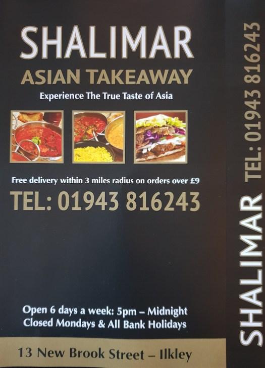 shalimar takeaway menu ilkley