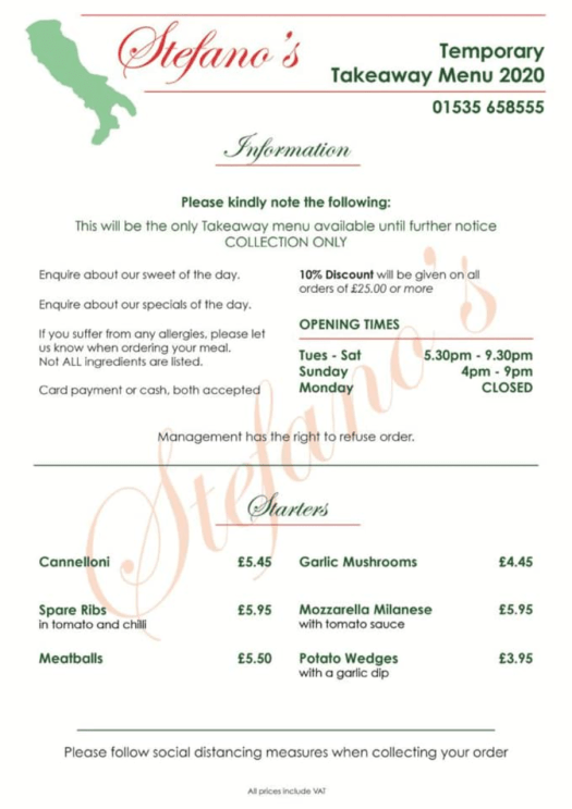 Stefano's temporary covid menu