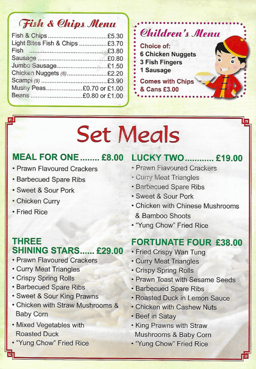 fish and chips, childrens menu, set meals.